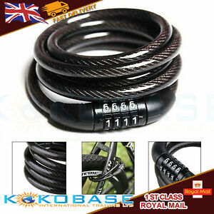 Combination Number Code Bike Bicycle Cycle Lock 8mm by 650mm Steel Cable Black