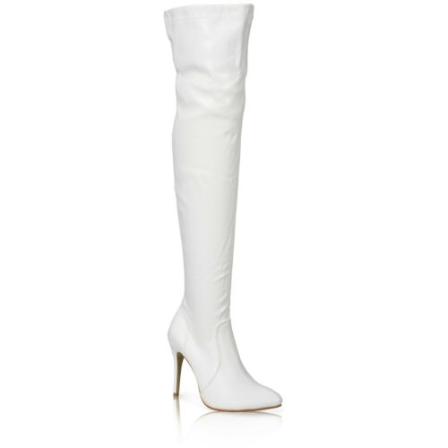 NEW WOMENS LADIES POINTED TOE ABOVE THE KNEE STILETTO HEELS BOOTS SHOES SIZE 3-8