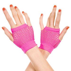 Short Fishnet Fingerless Gloves Light Pink
