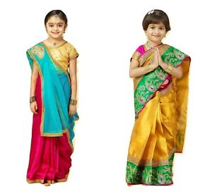 Kids Silk Saree Traditional South Indian Wedding Festival Event