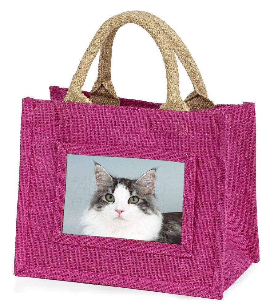 Pratique Pretty Grey And White Cats Face Little Girls Small Pink Shopping Bag , Ac-193bmp RafraîChissement