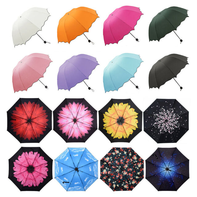 Pink Women Ladies Windproof Anti-UV Sun Rain Auto-Open Folding Umbrella Parasol