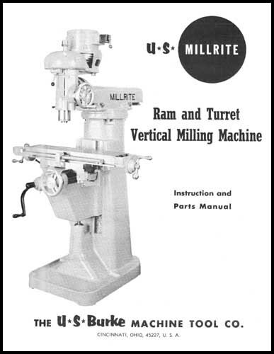 US Burke Millrite MV-1 Milling Machine Manual