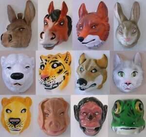 1x-Tiermaske-Erwachsene-Tier-Maske-Esel-Fuchs-Hase-Eisbaer-Tiger-Wolf