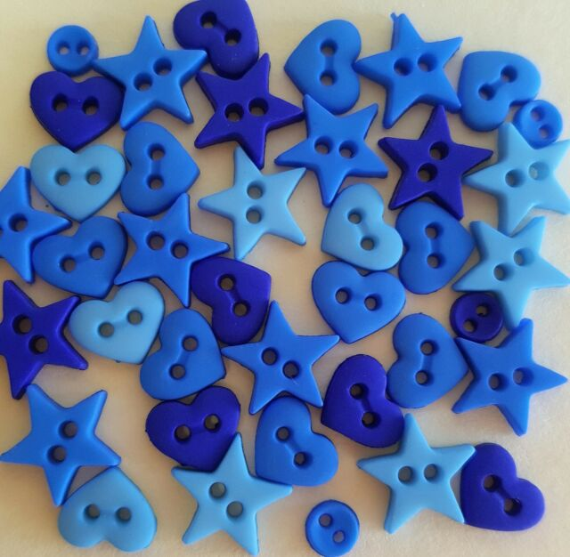 DARK BLUE SHAPES Micro Mini Hearts Stars Round Dress It Up Sewing Craft Buttons