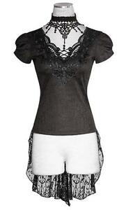 Punk-Rave-Tunika-Bluse-Kurzarm-Damen-T-Shirt-mit-Spitze-Visual-Kei-Gothic-Romant