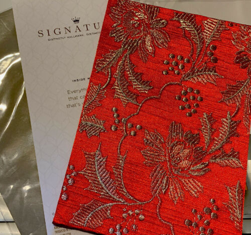 Hallmark Signature Christmas Fabric Greeting Card Red Silver New With Envelope!