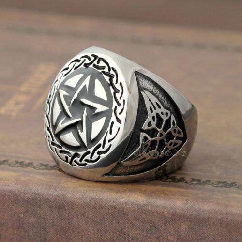 Hommes Vintage Wicca magie Pentagramme Pentacle Étoile celtique Knot Bague Acier Inoxydable