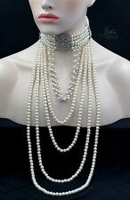 Creamy White Pearl Choker Strand/String Necklace Clear Crystal 01035 Glass