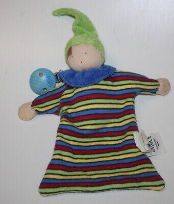 Ein Alana DM Wichtel Mütze bunt und Beine Schmusetuch Schnuffeltuch Kuscheltuch