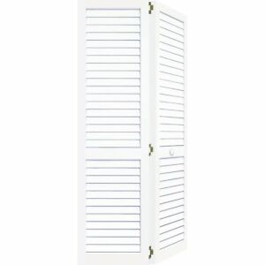 Kimberly Bay Door. 24 In. Plantation Louvered Solid Core Painted White Wood  Interior Bi Fold Closet Door DPBPLLW24