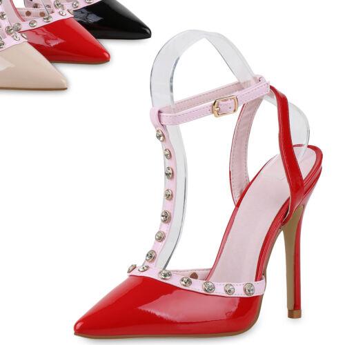 Damen Sandaletten High Heels Lack Strass Stilettos Schuhe 816412 Top