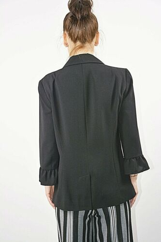 New Ex Brand Black 3//4 Frill Cuff Sleeves Short Fitted Fully Lined Blazer 10-14