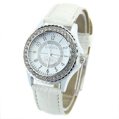 Women Girls Round Crystal Dial Fashion Quartz Analog Leather Bracelet Wristwatch