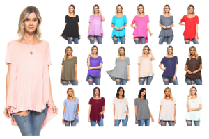 Women-039-s-Short-Sleeve-Loose-Fit-Flare-Flowy-T-Shirt-Tunic-Top-Blouse-S-3X