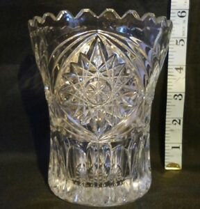 Vintage-Pressed-Glass-Celery-vase-with-cut-Hobstar-pattern-Very-good-condition