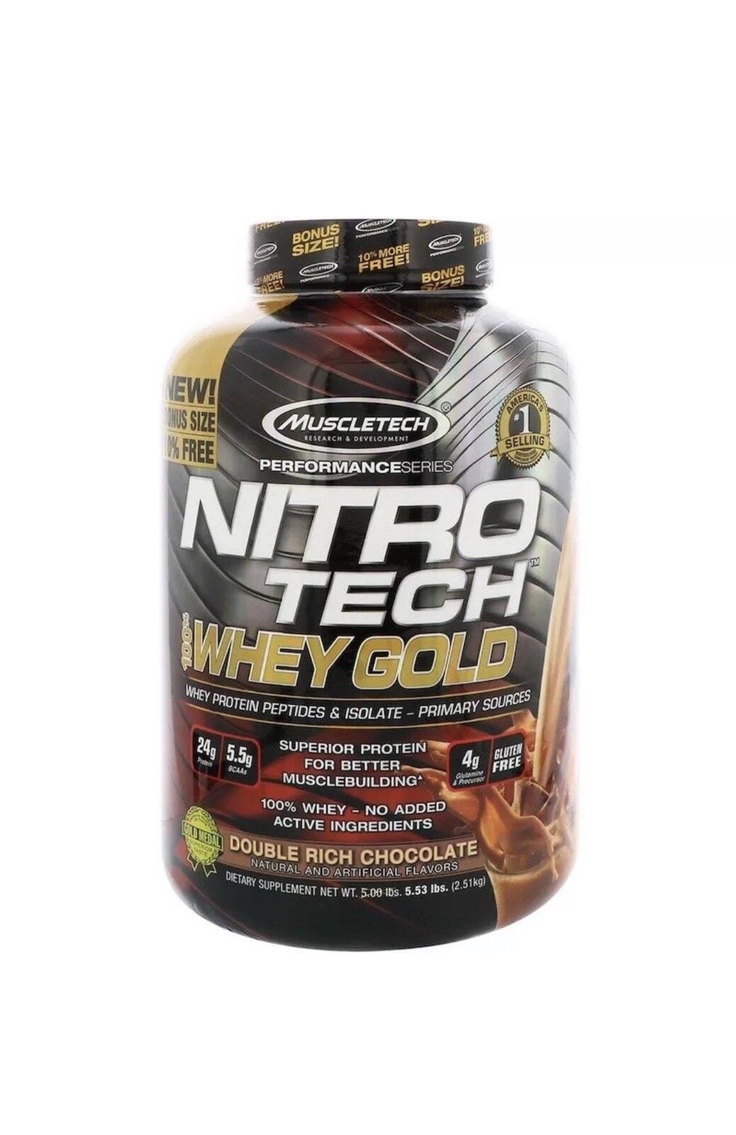 Muscletech Nitro Tech 100% Whey GoldDouble kg) Rich Chocolate (2.51 kg) GoldDouble Gluten Free 280d9c
