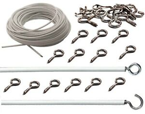 White-Net-Curtain-Wire-Window-Cord-Cable-With-Free-Hooks-amp-Eyes-Home-Office-New