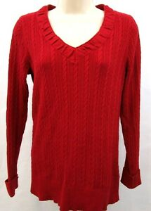 Eddie-Bauer-womens-sweater-size-medium-dark-red-v-neck-cable-knit-cotton-blend