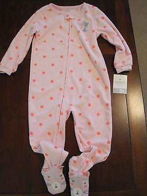 NWT CARTER/'S GIRLS BLUE//PINK Zebra Print Fleece Blanket Sleeper SIZES 2T 3T /& 4T