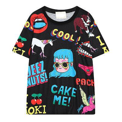 Harajuku style Unicorn Girl women loose long section short-sleeved T-shirt Tops