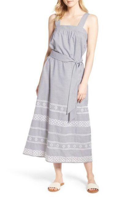 9ace46ba9d NWT Vineyard Vines Women's Striped Embroidered Maxi Dress size 00 JET BLACK