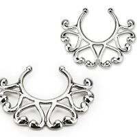 2 X Non Piercing Clip On Nipple Ring Small Vintage Hearts