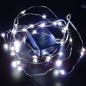 10ft Fairy LED Wire String Lights-Pure White-Battery Operated Waterproof THL-02 eBay
