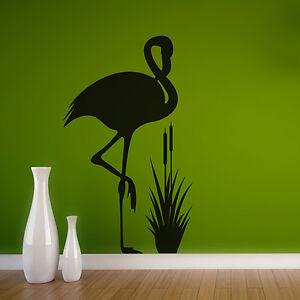 Wandtattoo-Flamingo-amp-Schilf-Vogel-Aufkleber-Wall-Art-Wand-Tattoo-2010