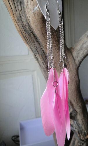 Boucles d/'oreilles plumes couleurs et chaine argentée 10 couleurs au choix !