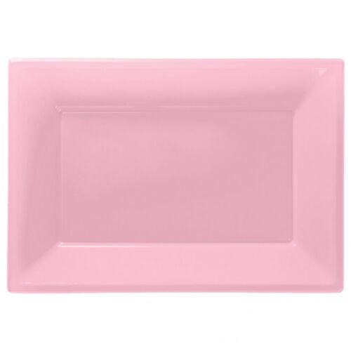 3 Couleur Plastique Serving Plateaux Plateau 33 cm x 23 cm Buffet rose bébé