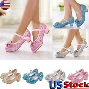 # Children Kids Girls Bowknot Crystal Bling Princess Party Dance Shoes USA Stock