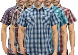 Men-039-s-Western-Pearl-Snap-Button-up-Rodeo-Plaid-Short-Sleeve-Casual-Dress-Shirt