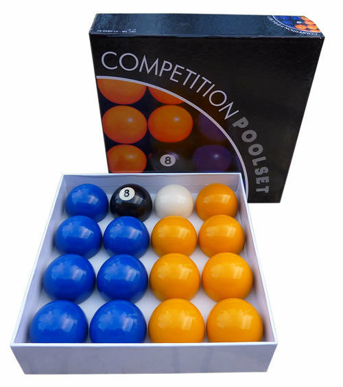 "BLUE AND YELLOW COMPETITION POOL BALLS ENGLISH TABLE 2"" match quality pub club &"
