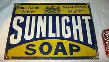 ANTIQUE SUNLIGHT SOAP LINEN TEXTILE PORCELAIN ADVERTISING LAUNDRY BATH ART SIGN