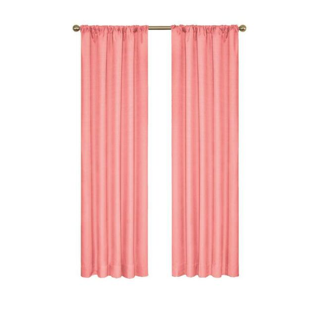 """Eclipse Rod Pocket Black Out Curtain Panel Coral 42""""W X 63"""