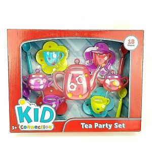 Girls Tea Party Set Pink Purple Green Blue Flowers Polka Dots 18pc