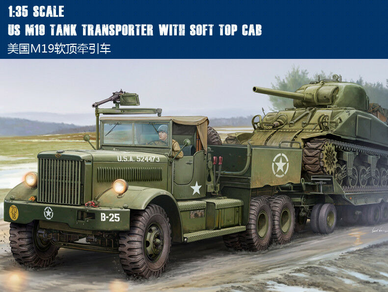 US M19 TANK TRANSPORTER WITH SOFT TOP CAB 1 35 tank Trumpeter model kit 63502