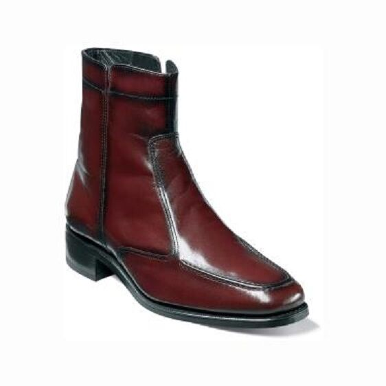 6aab6fc3014 Florsheim Men's Essex Side Zip up Leather Ankle Dress BOOTS Black Cherry  17074 11