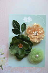 FOREST-TIMES-3-Flower-Mix-Designs-SATIN-LACE-3-Leaves-50-75mm-across-Green-Tara