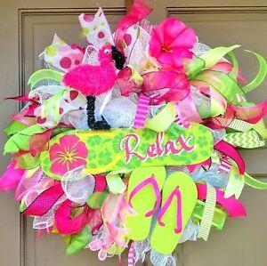 Spring-Summer-Deco-Mesh-Wreath-Flip-Flops-Pink-Flamingo-RELAX-Sign-Door-Decor