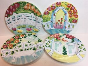The Cellar HandPainted Garden Scene exclusively Made for FPD 4-Salad Plates 1996