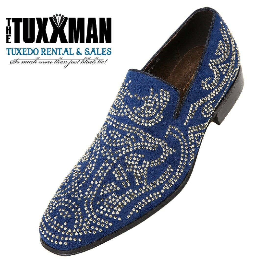 New Navy Blue Dress Shoe Genuine Suede Slip On Gold Loafers TUXXMAN Father's Day
