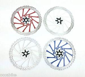 disco-de-freno-BICICLETA-MONTANA-160mm-6-agujeros-MTB-rotor-160-plata-azul-rojo