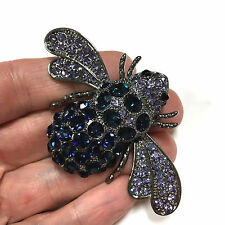 Giant Dazzling Blue & Lavender Rhinestone BEE Bug Insect Brooch Pin Black EE100k