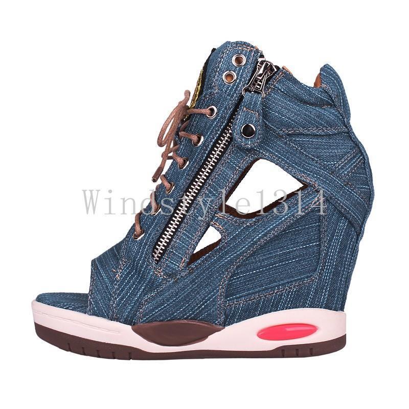 High top femmes  Peep toe Hollow out Denim Sandals Platform Wedge Sneakers  Chaussures