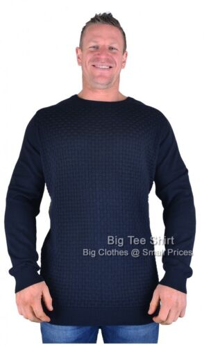 Big Mens Navy Espionage Tandy Knitted Jumper Sizes 2xl to 6xl