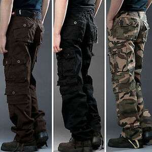 Mens-Army-Military-Combat-Cargo-Camo-Pockets-Pants-Outdoor-Fishing-Work-Trousers