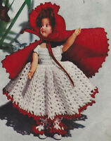 Vintage Crochet Pattern To Make Doll Clothes Dress Red Riding Hood 8-16-inch Rh