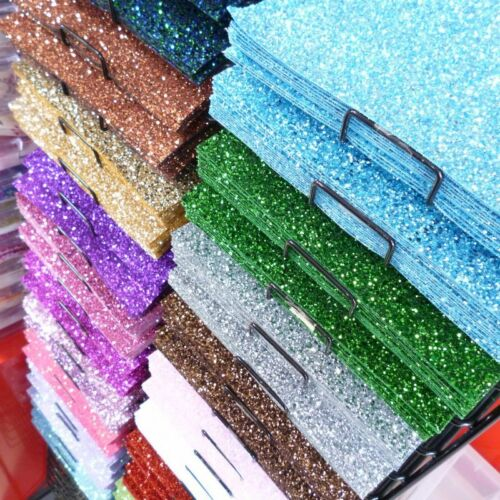CHUNKY Glitter Material 25 colours Fabric SHEETS sew glue or die cut